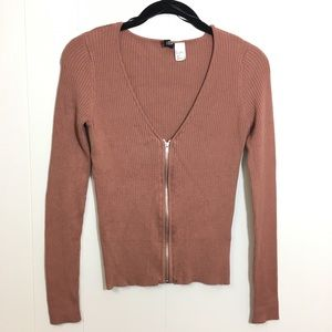 H&M Divided Long Sleeve Zip Cardigan Top Small